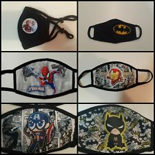 FACE MASK - kids, HAND MADE 100% cotton WASHABLE, SUPERHEROES, MARVEL, D.C.