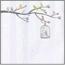 Gray Tree Bird Cage Colorful Birds Wall Sticker Decal Vinyl Art Home Decor