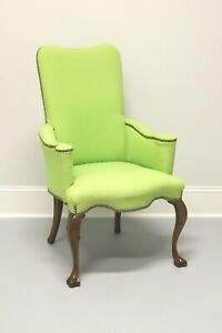 Vintage French Provincial Accent Chair in Green Polka Dot