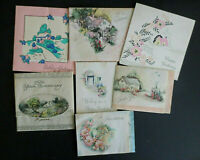 Lot 7 Vintage 1940s Assorted Small Greeting Cards Thank You Birthday FRee Ship