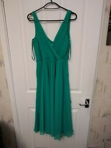PREOWNED LADIES NEXT JADE GREEN PLUNGE NECK SLEEVELESS ROUCHED DRESS SIZE 1O