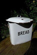 Vintage Retro Enamel Bread Bin White with Black Letters Kitchen Display
