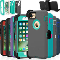For iPhone 6s 7 8 Plus XS max XR Shockproof Defender Case w/Holster Belt Clip