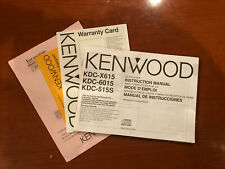 Kdc-X615 Kenwood Instruction Manual and Warranty Card