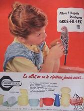 PUBLICITÉ 1958 GROSFILLEX PLASTIQUES LÉGERS SOLIDES - PERRUCHE - ADVERTISING