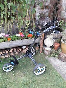 Motocaddy CUBE 3-Wheel Compact Golf Push Cart Trolley.. Blue