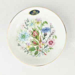 Vintage English england AYNSLEY Wild Tudor bone china trinket or pin dish floral