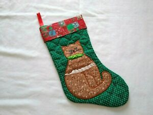 Vintage Avon Embroidered Cat Floral Christmas Stocking
