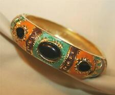 Striking Green Peach Violet Enameled Ebony Accented Goldtn Bangle Cuff Bracelet