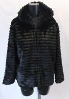 Boohoo Women's Hooded Faux Fur Coat KB6 Black Size US:8/UK:12 NWT $100