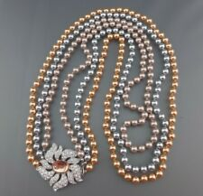 Nolan Miller 3-Strand Pave Crystal Flower Clasp Glass Tri-Color Pearl Necklace