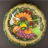 Mexican Talavera Folk Art Ceramic Pottery Hanging Plate Harvest Fruits Flower