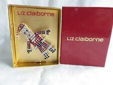 "Christmas New In Box Liz Claiborne Rhinestone Santa 2 5/8"" Pin Brooch Moveable"