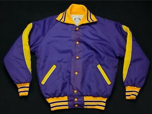 Rare VTG LOCKER ROOM SPORTS Plain Blank Varsity Jacket 60s 70s 80s LSU Lakers M