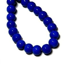"GLASS BEADS ROUND DRUK 8mm CLASSIC BLUE 16"" strand"