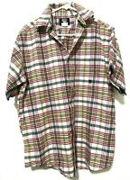 Wrangler Twenty X Mens Western Plaid Flannel Short Sleeve Dress Shirt White Sz L