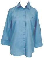 Sportscraft Womens Blue Long Sleeve Button Up Blouse Size 12