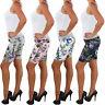 Damen Sommer Stoff Stretch Capri Kurze 3/4 Jeans Hose Shorts Bemuda Hüft