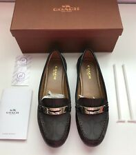 New w/Box COACH Olympia Pebble Grain LEATHER Loafers 5.5 Brown FLAT Driving Shoe