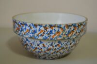 "Stoneware Sponge Confetti Splatter Vintage Pottery Bowl 7"" Orange Blue Kitchen"