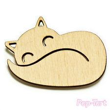 Fox Cat Cute Laser Cut Wooden Brooch 55mm x 40mm x 8mm Gift Idea