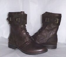 UGG Lodge Brown Maaverik Textured Leather Zipper Combat Boots 8US/39EU NIB