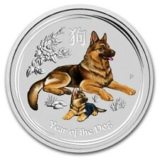 German Shepherd 2018 AUSTRALIA DOG 1 OZ 9999 SILVER COLORIZED by the Perth Mint