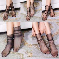 Women Black Summer Glitter Mesh Ankle Socks Soft Elasticity Gauze Fishnet Socks