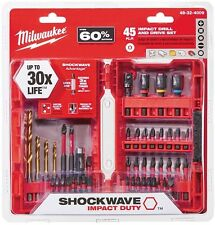 Milwaukee Ultimate Shockwave Impact Drill Bit Set Screw Driver Kit (45 Piece)