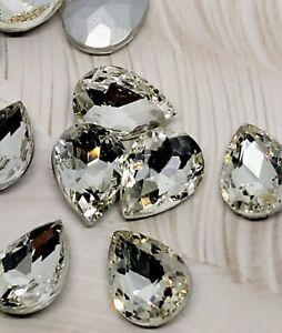 Teardrop Pear Glass Crystal Pointed Back Gem Rhinestone Faceted 14x10mm 10pcs