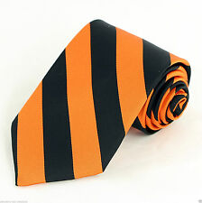 Orange & Black Striped Mens Necktie Regimental Stripes College Frat Neck Tie New