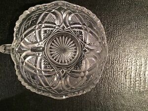 Candy Dish Bowl Clear Glass Xs and Squares Design 4""