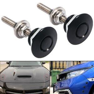 2pcs Black Push Button Quick Release Car Bumper Hood Pin Bonnet Lock Latch Clip