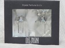 Elegant Crystal Perfume Bottles Set Of 3 Nib Oleg Cassini Signed Beautiful Gift
