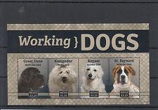 Nevis 2014 Mnh Working Dogs 4v M/S Pets Great Dane Komondor Kuvasz St Bernard