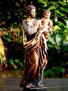 Holzgeschnitzter Heiliger Josef mit Jesuskind Figur Woodcarving
