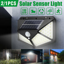 100 LED Outdoor Solar Powered Wall Lamp Motion Sensor Waterproof Security Light
