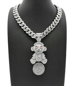 Hip Hop 38 BABY Young Boy Monkey Pendant & Iced Box Lock Cuban Chain Necklace