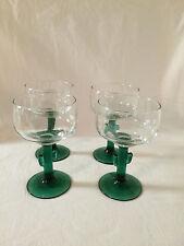 """4 vintage  green stem cactus goblet wine cocktail margarita glasses 6"""" Libbey"""