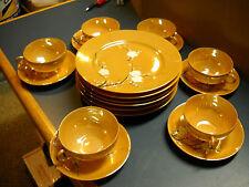 1930'S MITSU-BOSHI LUSTERWARE 6 PLATES CUPS SAUCERS CHERRY BLOSSOM DESIGN PEACH