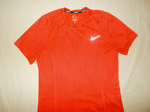 NIKE SHORT SLEEVE ORANGE PRINT REFLECTIVE RUNNING TOP MENS SMALL EXCELLENT COND.