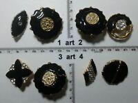 1 lotto bottoni gioiello strass smalti perle neri buttons boutons vintage g12