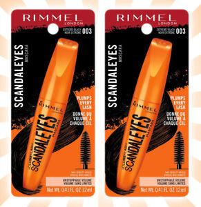 2 Rimmel ScandalEyes Big Brush Mascara #003 Extreme Black 0.41 OZ