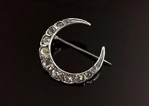 Antique Victorian paste crescent brooch, sterling silver