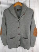 Ralph Lauren Rugby Mens S Leather Button Cardigan Sweater Elbow Patch Wool Grey
