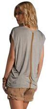 Elegant MAGGIE WARD Scoop Neck Top w/Leather, sz S, Stone, NEW