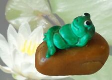 Cute Polished Stone Mini Paperweight With Happy Green Frog
