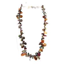 "Multi-color Genuine Keishi Pearl Toggle Necklace 18"""