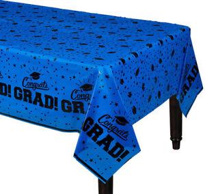 "GRADUATION Party BLUE plastic TABLE COVER 1 tablecloth school colors 54""x84"""