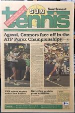 Andre Agassi / Jimmy Connors Dual Signed Newspaper BAS COA Tennis Auto